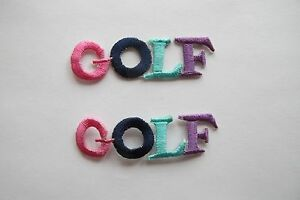2983-Lot-2Pcs-Multicolor-GOLF-word-Embroidery-Applique-Patch