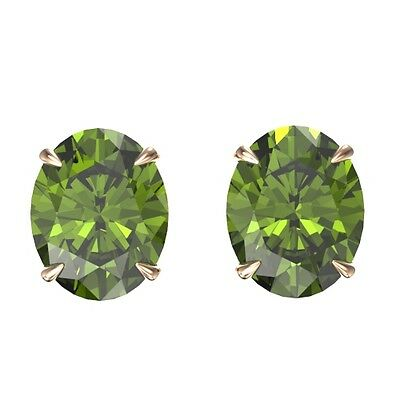 5005. 6 CTW Green Tourmaline Designer Solitaire Stud Earring 14K Gold - 21... Lot 5005