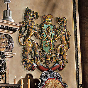 Mythological-Beasts-Heraldic-Royal-Lion-Coat-of-Arms-Hand-Painted-Wall-Sculpture