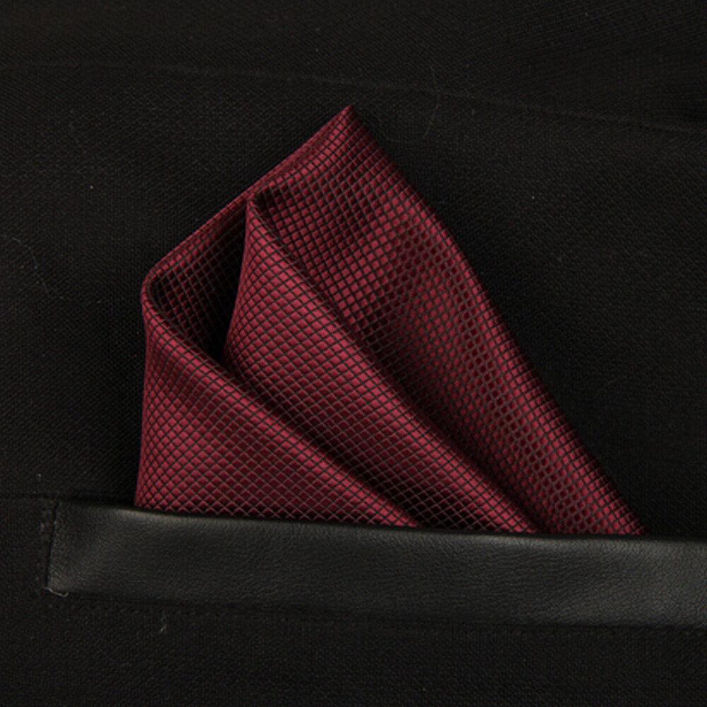 (T15)Burgundy Red Silk Men Formal Pocket Square Hanky Wedding Party Handkerchief