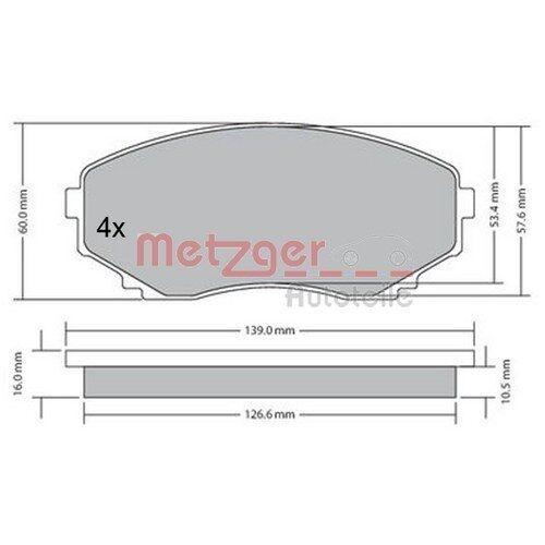 METZGER Original Bremsbelagsatz, Scheibenbremse Vorderachse Mazda 1170375