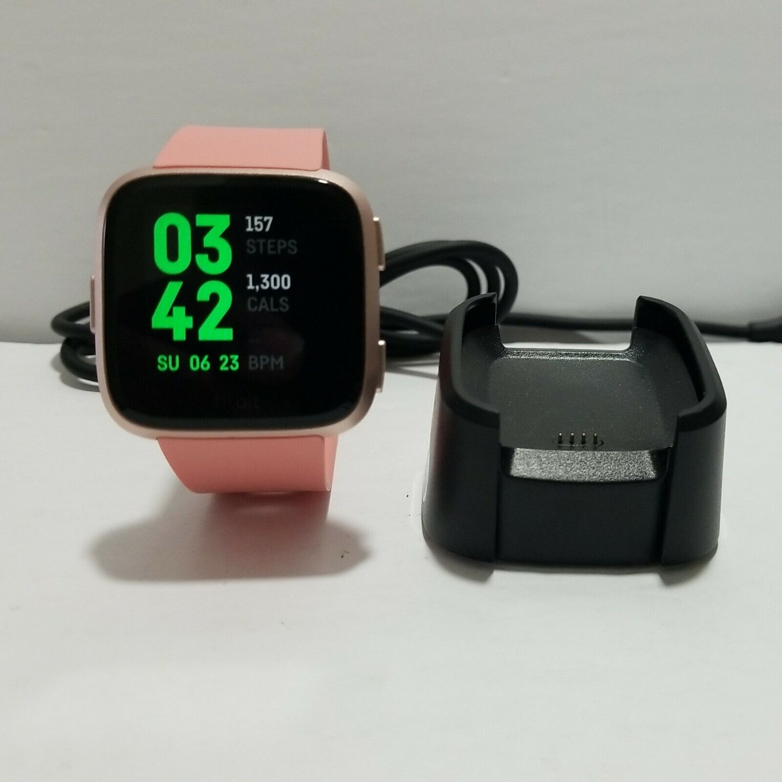 Fitbit Versa SE Fitness Activity Tracker - Rose Gold Small Pink Band, Charger