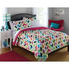 Teen Girls Bright Rainbow Chevron 5 Piece Twin Polyester Comforter Bedding Set