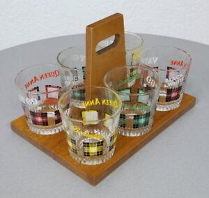6-original-Ballentines-200-ml-Whiskey-Glaeser-mit-Dekor-im-Holz-Traeger-60er-Jahre