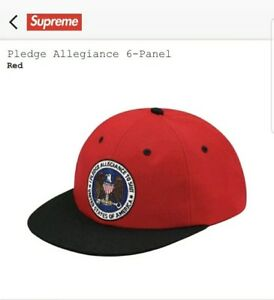 20395e4a3d730 Supreme Pledge Allegiance 6-Panel Red SnapBack Cap Hat FW17 SOLD OUT ...