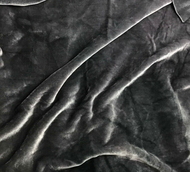 "Hand Dyed Silk VELVET Fabric PEWTER GRAY 9""x22"" remnant"