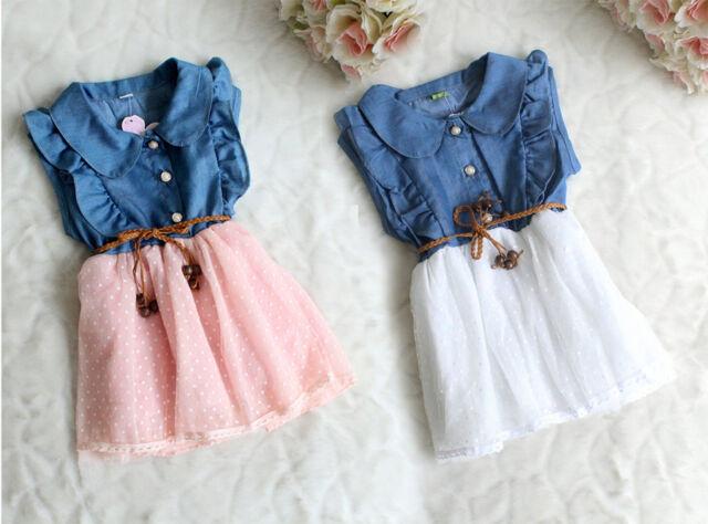 New Pretty Baby Girls Clothes Ruffle Denim Polka Dot TUTU Lace Party Dress +Belt