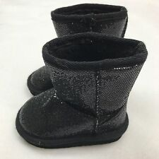 Size 5 Boots Toddler Girls Cute Shiny Sequins Infant Black Fur Lined A11