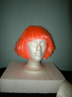 Short Bob Style Wig Neon Orange Rave Party Halloween Costume Hair One Size
