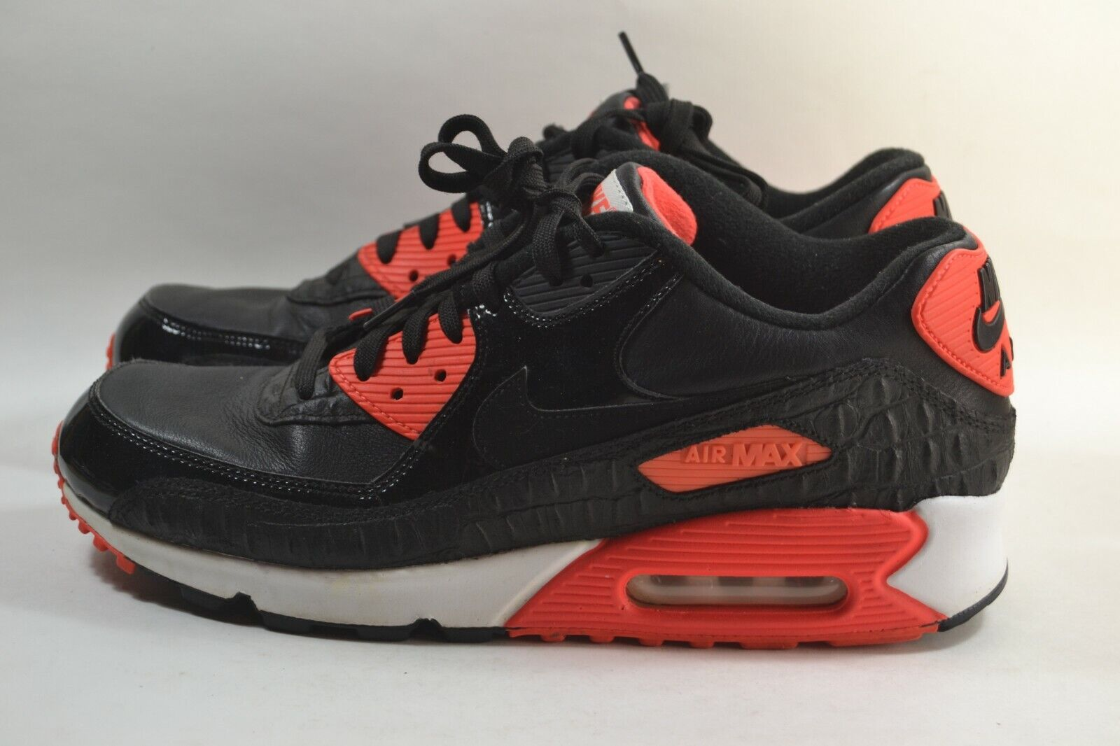 Pre-owned Mens Nike Air Max 90 Black Infrared Croc Anniversary 725235-006