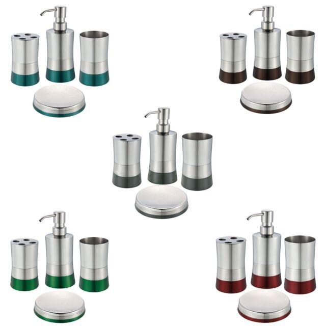 Stainless Steel Bath Set: Soap Dispenser, Toothbrush Holder, Soap Dish, Tumbler