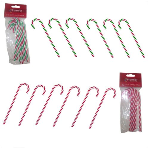 Décoration de Noël Lot de 6 torsadée Candy canes rouge /& blanc