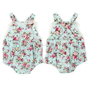 Summer-Baby-Girls-Lace-Floral-Romper-Jumpsuit-Bowknot-Headband-Party-Set