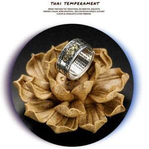 Pixiu-Protection-Wealth-Ring-Silber-Buddhist-Feng-Shui-Schmuck-Geschen-Frau-J1M0