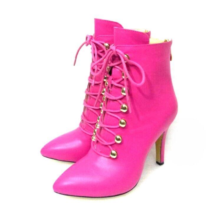 Para mujer botas al Tobillo Zapatos Taco aguja Zapatos Tacones Altos Con Cordones En Punta Bota Zapatos Con Cremallera
