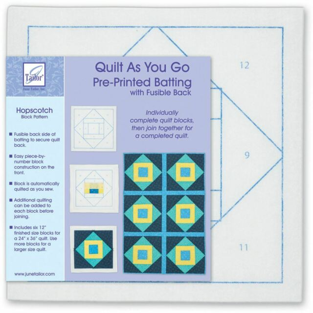 QUILT AS YOU GO PRE-PRINTED BATTING Fair /& Square Block From June Tailor Inc.