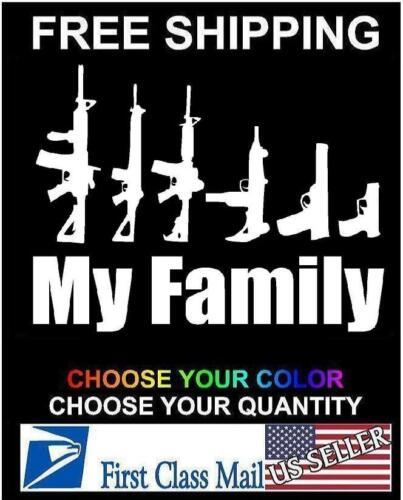 My Gun Family Bumper Sticker Window Funny Laptop Car Truck Decal Vinyl
