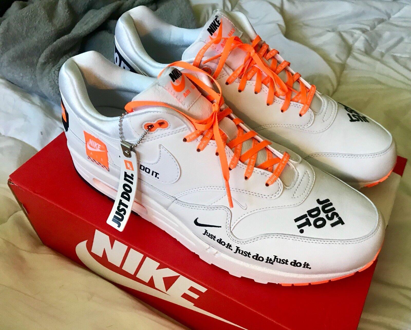 Nike Air Max 1 Just Do It White Orange Sz 13 AO1021-100