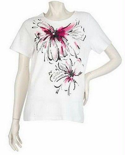 62d83bc552b LARGE - SUSAN GRAVER Cotton Printed Short Sleeve Shirt Top Beading Accents  QVC L