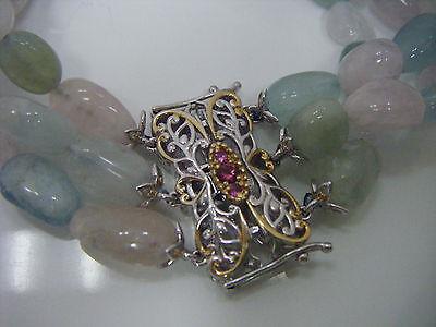 "Gems en Vogue Michael Valitutti 3 Strand Bead Bracelet 8"" Sterling & 18k & Gems!"