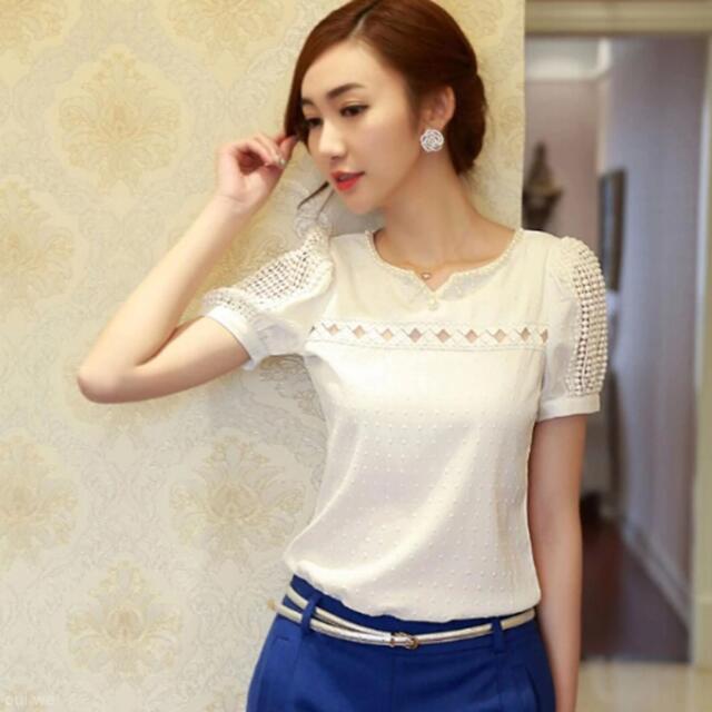 Fashion Women's Chic Slim Chiffon Tops Lace Short Sleeve T-Shirt Casual Blouse