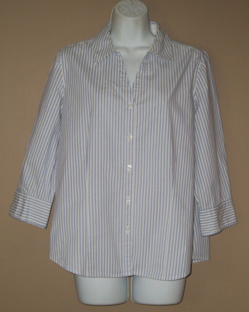 Womens Size Medium Long 3/4 Sleeve Blue Striped Wrinkle Free Spring Top Shirt