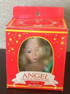 1991 Fibre Craft Vinyl Angel Head /& Hands Set for Soft Body Doll Tree Top NOS