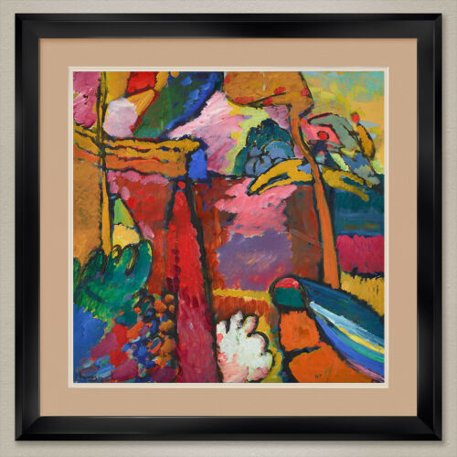 "32W/""x32H/"" IMPROVISATION STUDY by WASSILY KANDINSKY DOUBLE MATTE GLASS and FRAME"