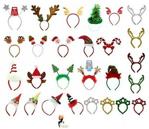 Ladies Christmas Head Boppers Glittered Novelty Headbands Fancy Dress Costume
