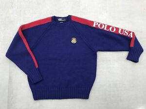 Zeldzaam Cookie L Ralph 80s Lo Mooi Vintage 90s USA Patch Large Polo Lauren Sweater iOuTlwPkXZ