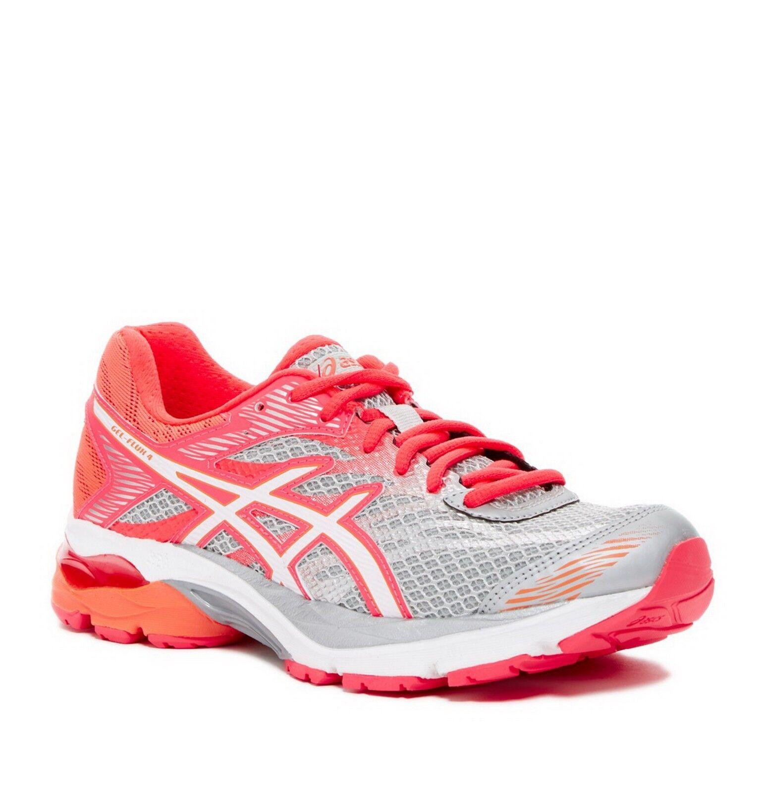 New ASICS GEL-Flux 4 Running Sneaker, Grey-White-Pink, Women US 6.5,
