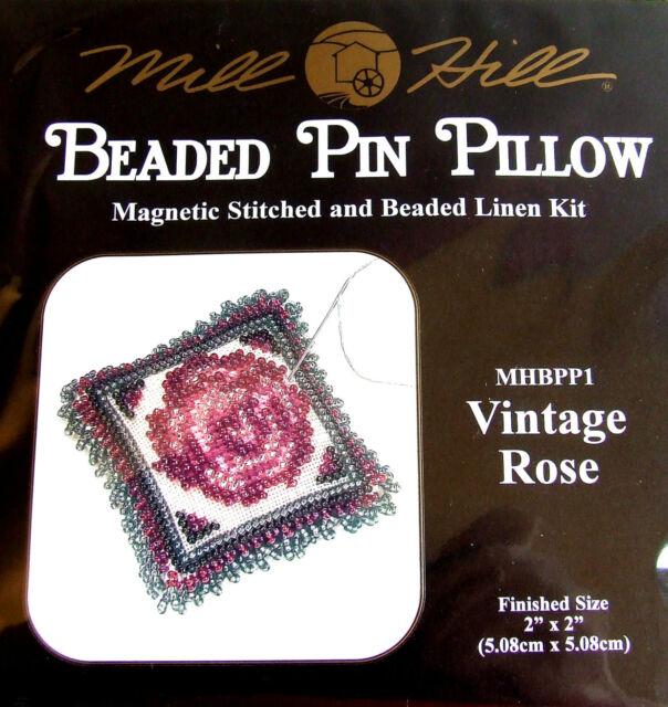 Mill Hill Magnetic Bead 'Beaded Linen Pin Pillow' Kit 'Vintage Rose' BPP1