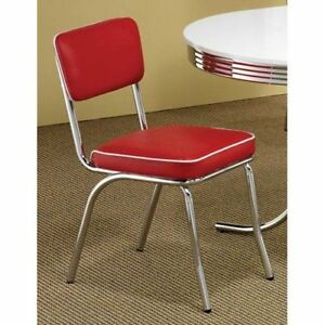 retro chrome dining chair set of 2 red vinyl vintage 50 s diner