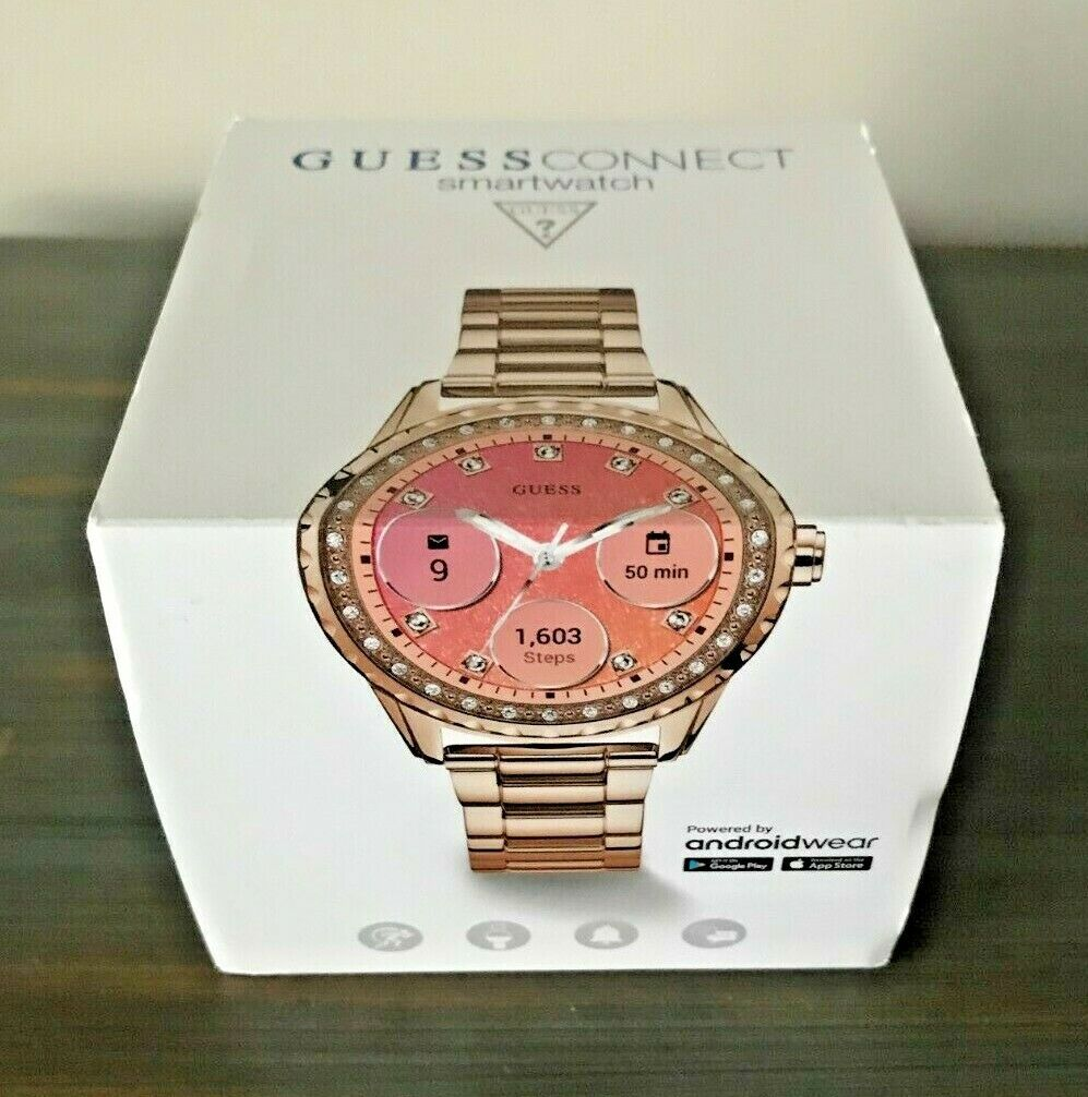 Cervello Antecedente climax  NIB Guess Connect Smartwatch 42MM Rose Gold-Tone Stainless Steel Watch  C1003L4 for sale online
