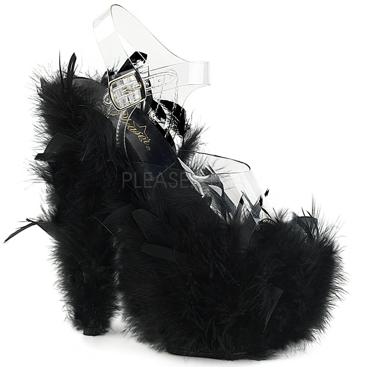più preferenziale Pleaser Pleaser Pleaser ADORE-708F Donna  Clear nero Marabou Feather Heels Platforms Sandals  offerta speciale