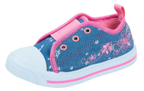 Girls Slip On Elasticated Trainers Kids Casual Flower Canvas Pumps Shoes Size