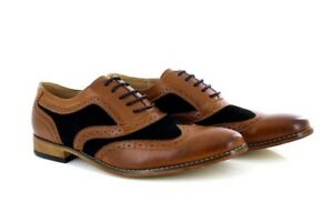 Mens-Goor-Formal-Leather-Lace-Up-Brogue-Shoes-Tan-Navy-PU-Synth-Suede