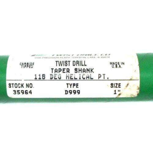 "DRILL BIT TYPE D999 1/"" NEW PRECISION TWIST 35964 TAPER SHANK 118 HELICAL PT"