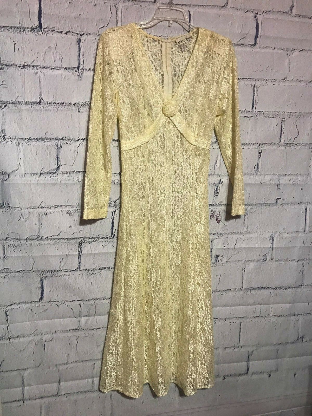 Sarah Richards Bohemian  Lace Vintage Gown Sz 12