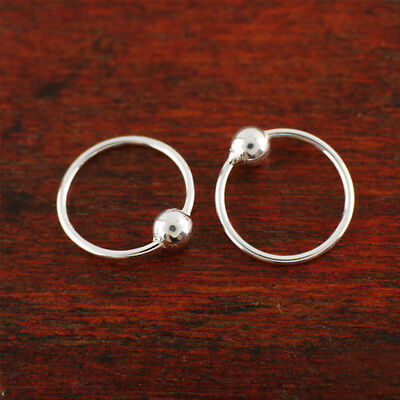 Sterling Silver Ball Simple Huggie Hoop Endless Nose Ring Earrings 10mm A1707