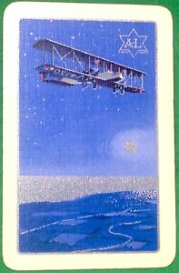 Playing-Cards-Single-Card-Old-Named-VIRGINIA-Biplane-Art-Picture-ADVERTISING