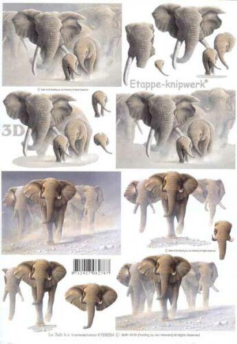 artesanías en papel elefantes elaboración de tarjetas Corte 1 A4 3D Decoupage NECESARIO