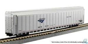 Kato-N-Aluminum-Enclosed-Auto-Carrier-4Pack-RTR-Amtrak-Set-3-Phase-V-Auto