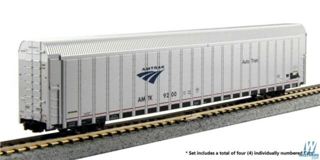Kato N Aluminum Enclosed Auto Carrier 4Pack RTR Amtrak Set 3 (Phase V Auto)