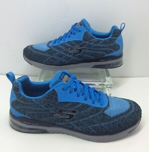 new arrival best online hot sale online Details about Skechers Skech-Air Infinity Relaxed Fit Blue Black Lace Up  Training Shoe Mens 10