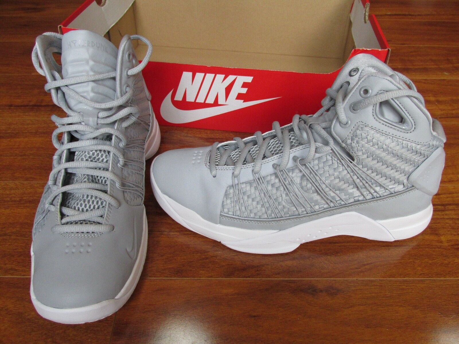 NEW NIKE Hyperdunk Lux Basketball Shoes MENS Size 9 Grey White 818137-002 170.