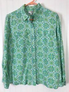 8e727a12269e Kim Rogers Petite Large women linen paisley blouse shirt green long ...