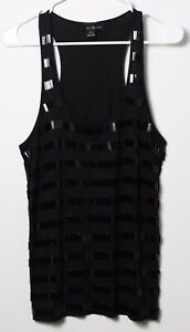 Faventyone-Women-039-s-Top-Black-Sequin-Racerback-Tank-Size-Large
