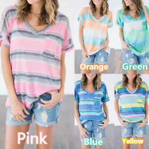 Womens-Summer-Striped-Short-Sleeve-T-shirt-Loose-Casual-V-Neck-Tops-Shirt-Tees