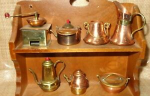 7 VTG Miniatures Copper or Metal Coffee Grinder Tea Pot Pan   Shelf NOT included